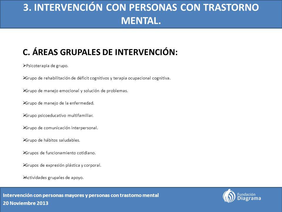 3. INTERVENCIÓN CON PERSONAS CON TRASTORNO MENTAL. C. ÁREAS GRUPALES DE INTERVENCIÓN: Psicoterapia de grupo. Grupo de rehabilitación de déficit cognit