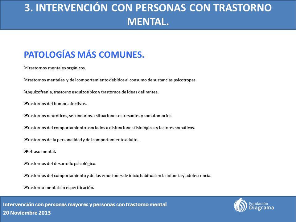 3. INTERVENCIÓN CON PERSONAS CON TRASTORNO MENTAL. PATOLOGÍAS MÁS COMUNES. Trastornos mentales orgánicos. Trastornos mentales y del comportamiento deb