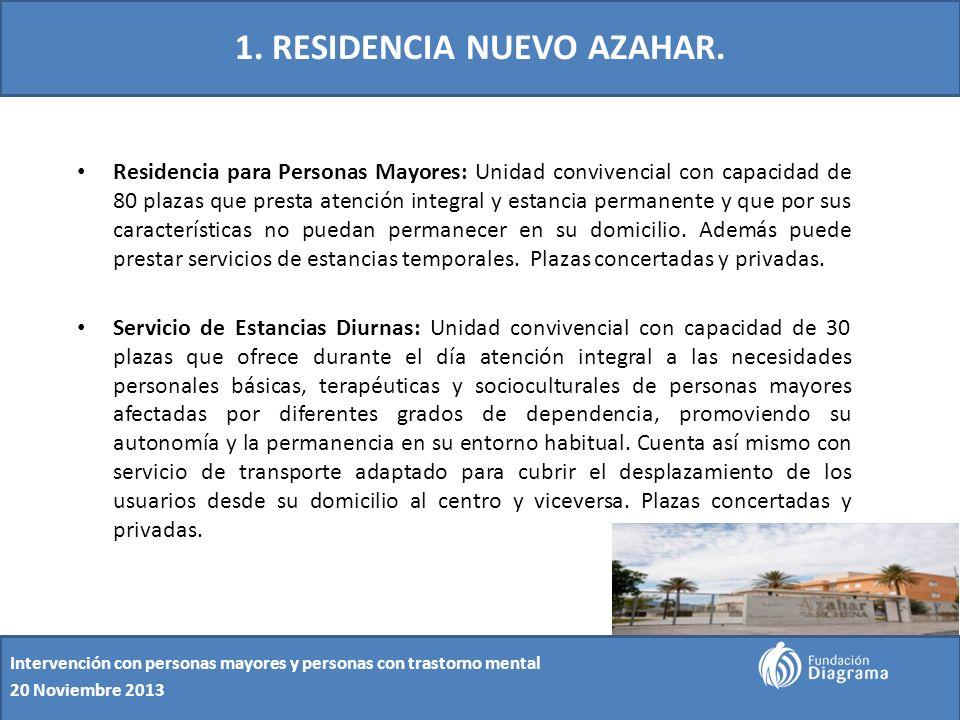 1. RESIDENCIA NUEVO AZAHAR. Residencia para Personas Mayores: Unidad convivencial con capacidad de 80 plazas que presta atención integral y estancia p