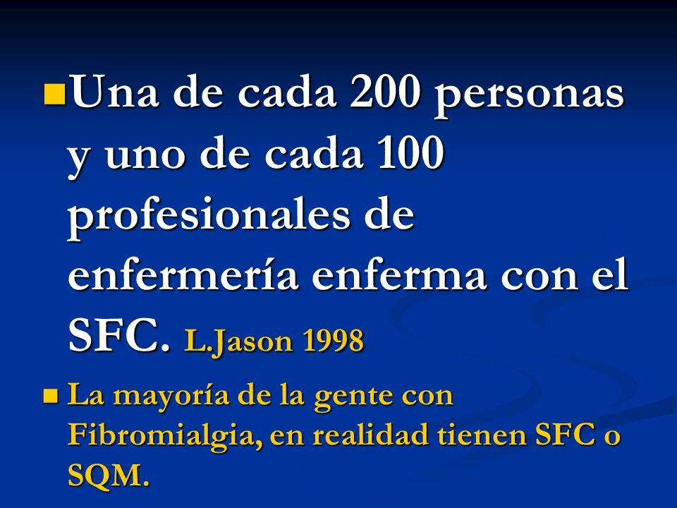 Una de cada 200 personas y uno de cada 100 profesionales de enfermería enferma con el SFC. L.Jason 1998 Una de cada 200 personas y uno de cada 100 pro