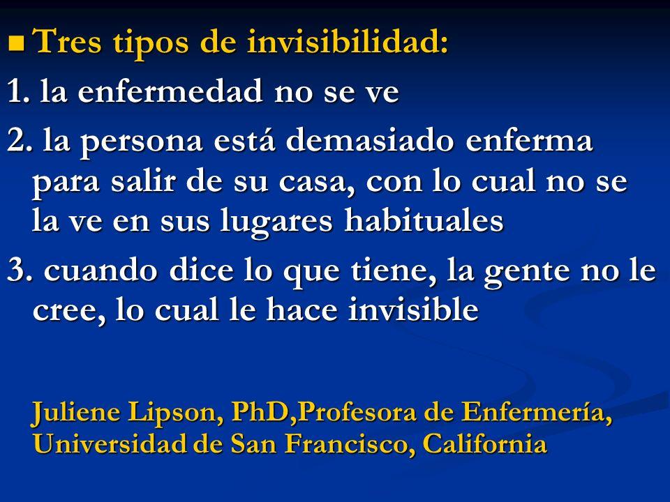 Tres tipos de invisibilidad: Tres tipos de invisibilidad: 1. la enfermedad no se ve 2. la persona está demasiado enferma para salir de su casa, con lo