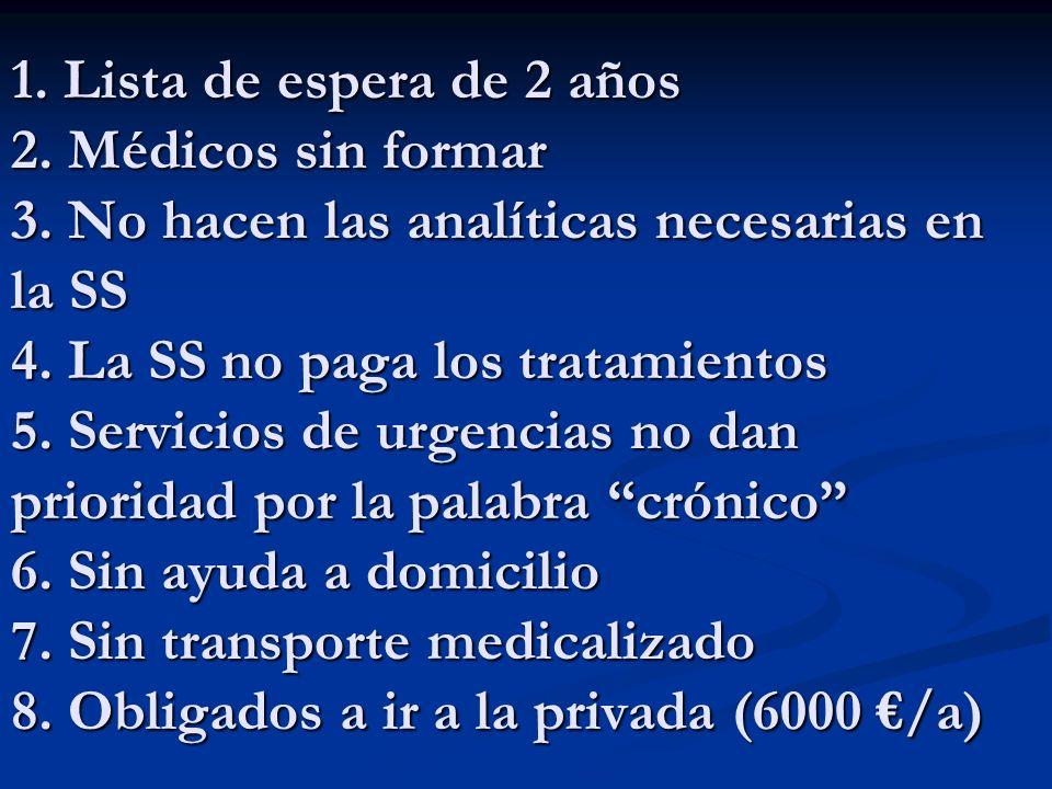 1. Lista de espera de 2 años 2. Médicos sin formar 3. No hacen las analíticas necesarias en la SS 4. La SS no paga los tratamientos 5. Servicios de ur