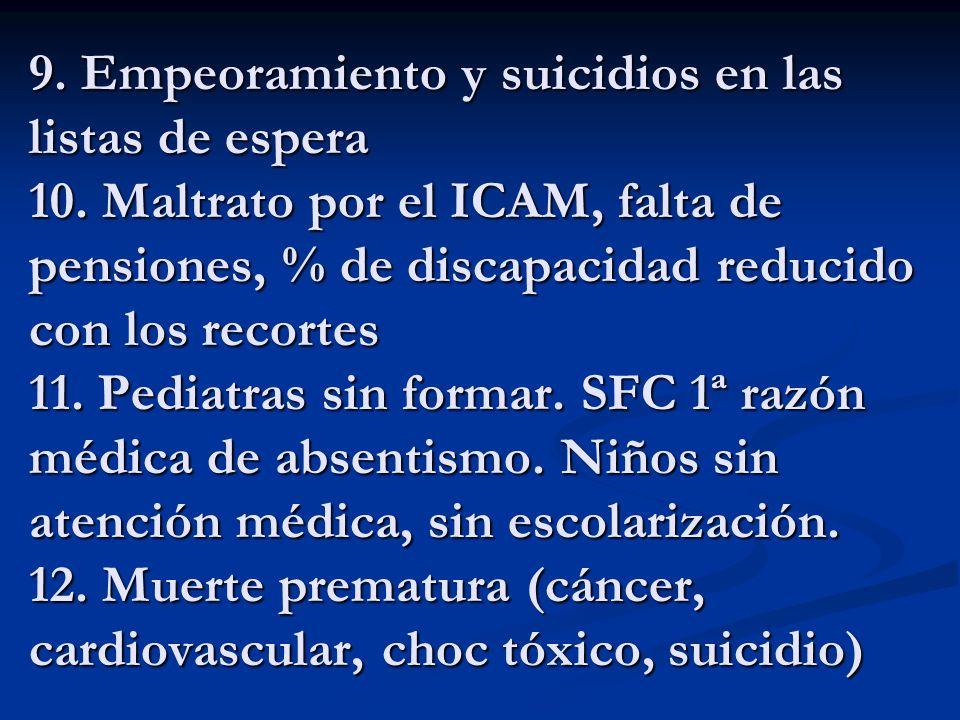 9. Empeoramiento y suicidios en las listas de espera 10. Maltrato por el ICAM, falta de pensiones, % de discapacidad reducido con los recortes 11. Ped