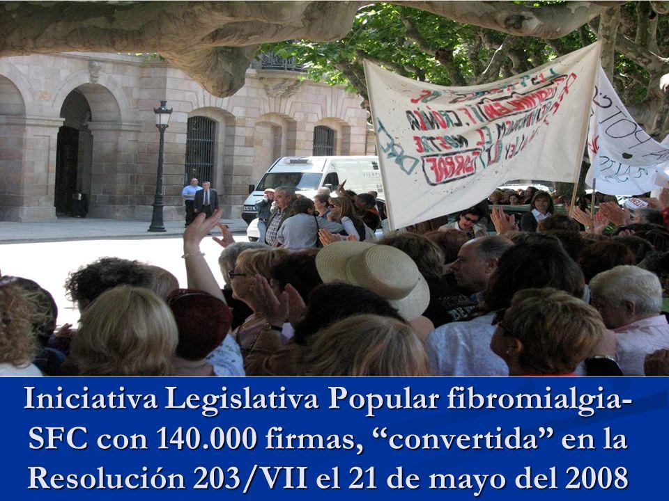 Iniciativa Legislativa Popular fibromialgia- SFC con 140.000 firmas, convertida en la Resolución 203/VII el 21 de mayo del 2008