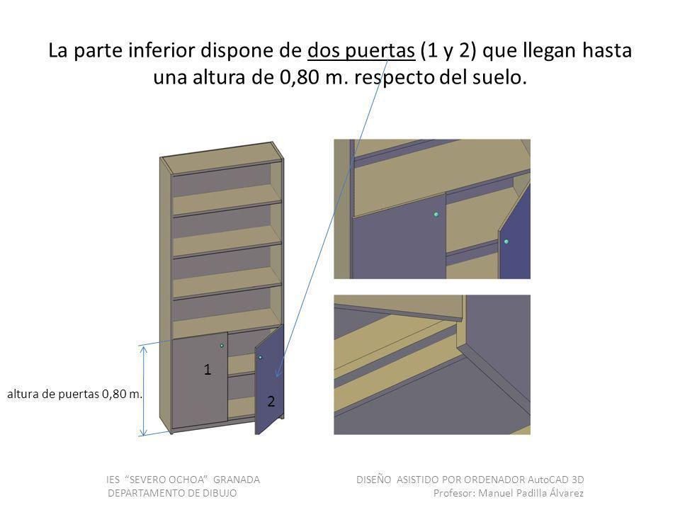 La parte inferior dispone de dos puertas (1 y 2) que llegan hasta una altura de 0,80 m.