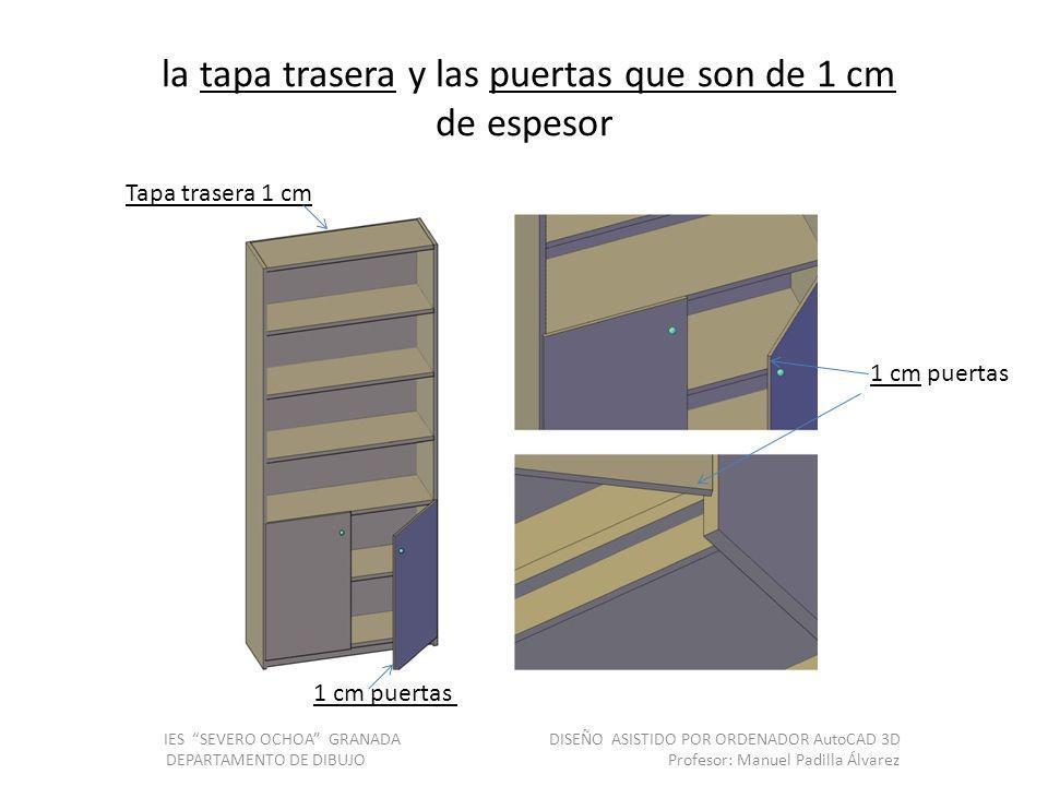 la tapa trasera y las puertas que son de 1 cm de espesor IES SEVERO OCHOA GRANADA DISEÑO ASISTIDO POR ORDENADOR AutoCAD 3D DEPARTAMENTO DE DIBUJO Prof