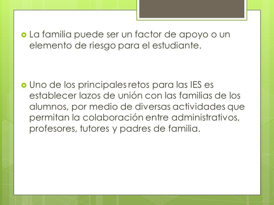 La familia puede ser un factor de apoyo o un elemento de riesgo para el estudiante. Uno de los principales retos para las IES es establecer lazos de u