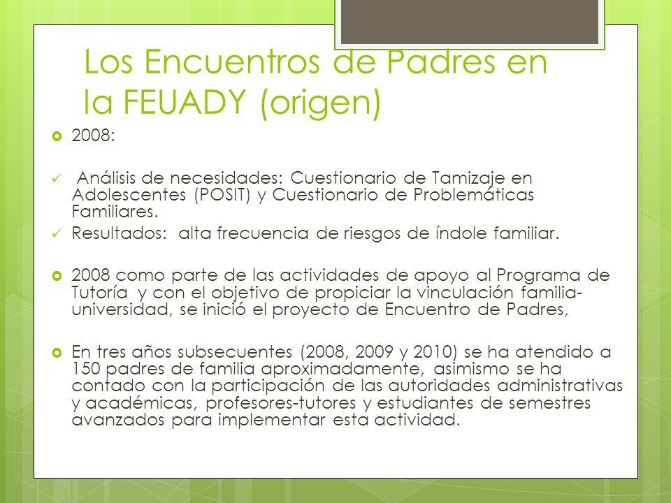Los Encuentros de Padres en la FEUADY (origen) 2008: Análisis de necesidades: Cuestionario de Tamizaje en Adolescentes (POSIT) y Cuestionario de Probl