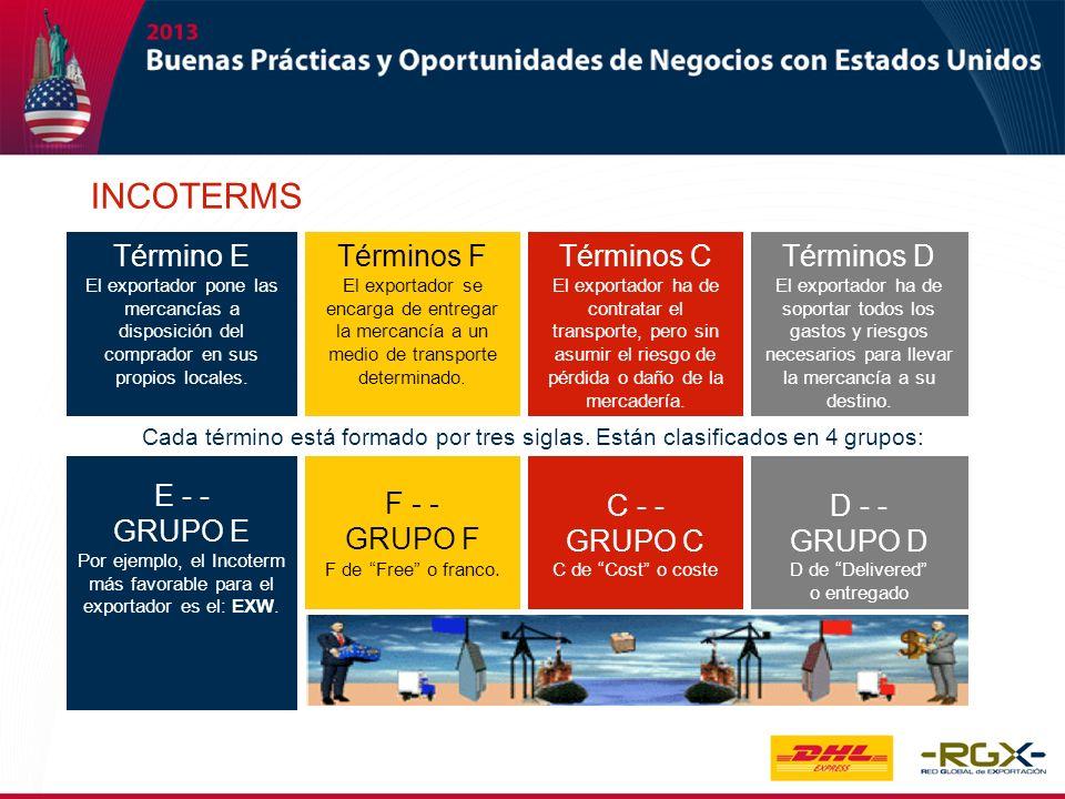 INCOTERMS Término E El exportador pone las mercancías a disposición del comprador en sus propios locales. E - - GRUPO E Por ejemplo, el Incoterm más f