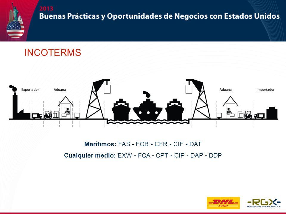 Marítimos: FAS - FOB - CFR - CIF - DAT Cualquier medio: EXW - FCA - CPT - CIP - DAP - DDP INCOTERMS