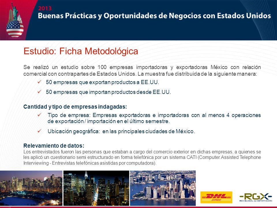 4 Se realizó un estudio sobre 100 empresas importadoras y exportadoras México con relación comercial con contrapartes de Estados Unidos. La muestra fu