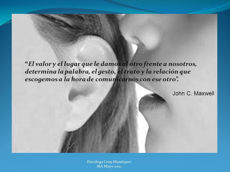 Psicóloga Cony Manríquez IRA Mayo 2011. El valor y el lugar que le damos al otro frente a nosotros, determina la palabra, el gesto, el trato y la rela
