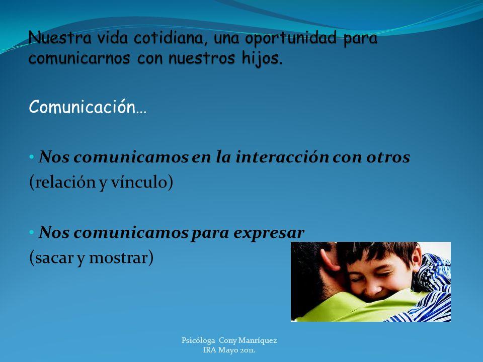 Comunicación… Nos comunicamos en la interacción con otros (relación y vínculo) Nos comunicamos para expresar (sacar y mostrar) Psicóloga Cony Manríque