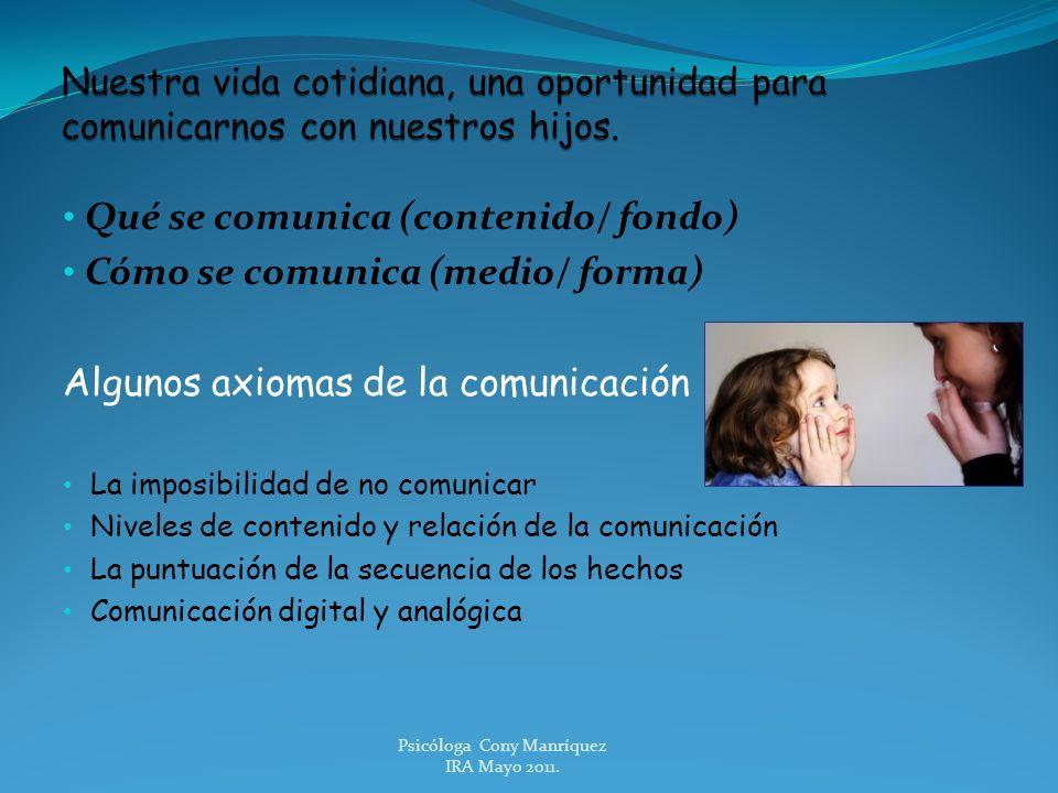 Qué se comunica (contenido/ fondo) Cómo se comunica (medio/ forma) Algunos axiomas de la comunicación La imposibilidad de no comunicar Niveles de cont