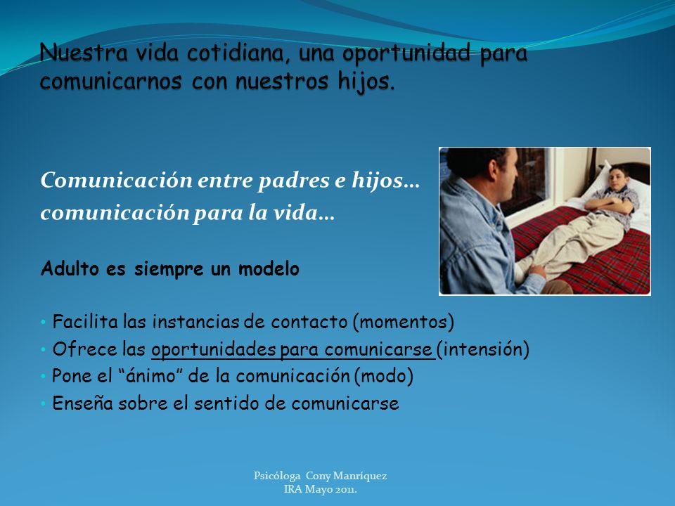Comunicación entre padres e hijos… comunicación para la vida… Adulto es siempre un modelo Facilita las instancias de contacto (momentos) Ofrece las op