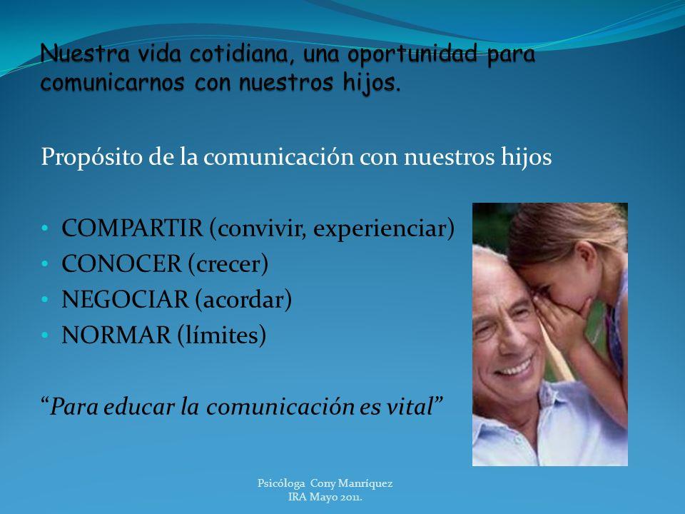 Propósito de la comunicación con nuestros hijos COMPARTIR (convivir, experienciar) CONOCER (crecer) NEGOCIAR (acordar) NORMAR (límites) Para educar la