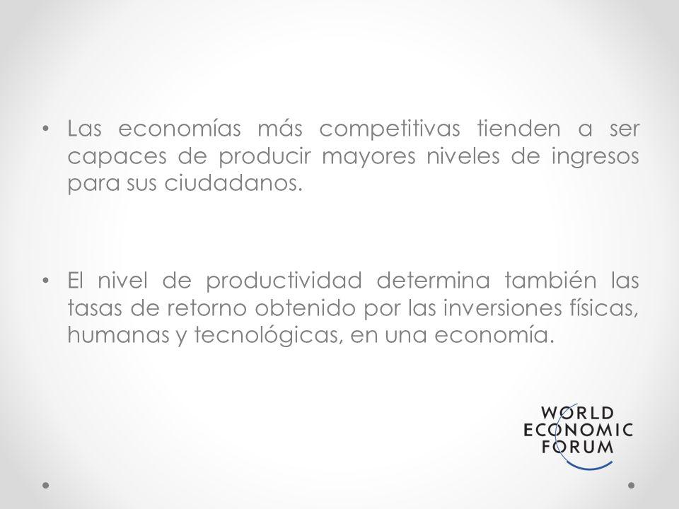 Las economías más competitivas tienden a ser capaces de producir mayores niveles de ingresos para sus ciudadanos. El nivel de productividad determina