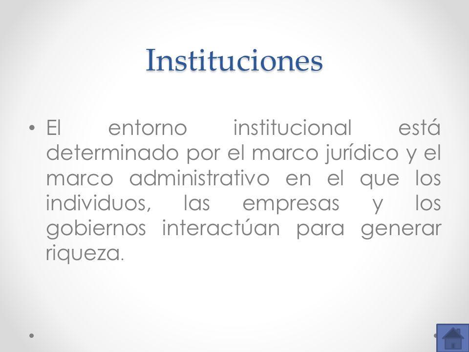 Instituciones El entorno institucional está determinado por el marco jurídico y el marco administrativo en el que los individuos, las empresas y los g