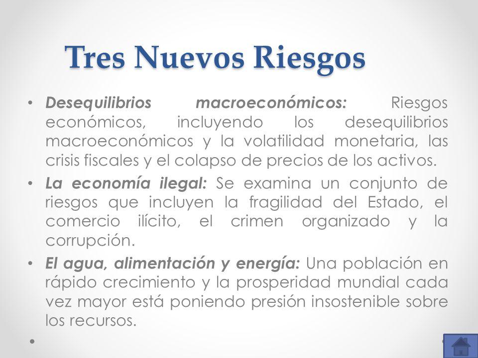 Tres Nuevos Riesgos Desequilibrios macroeconómicos: Riesgos económicos, incluyendo los desequilibrios macroeconómicos y la volatilidad monetaria, las