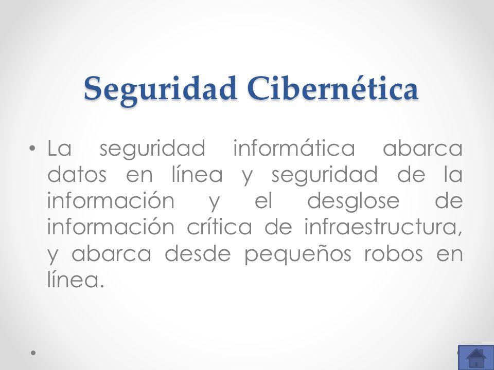 Seguridad Cibernética La seguridad informática abarca datos en línea y seguridad de la información y el desglose de información crítica de infraestruc