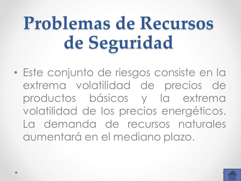 Problemas de Recursos de Seguridad Este conjunto de riesgos consiste en la extrema volatilidad de precios de productos básicos y la extrema volatilida