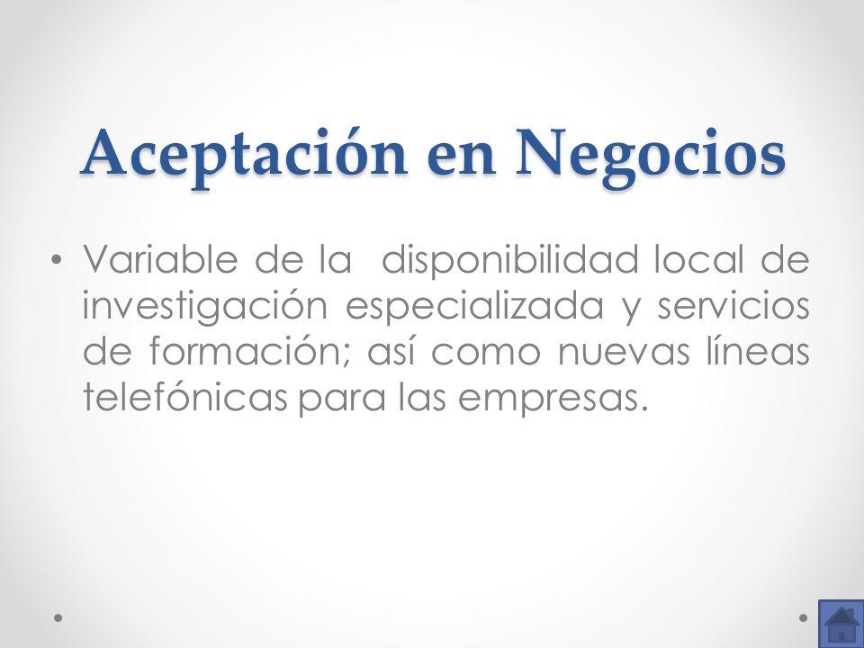 Aceptación en Negocios Aceptación en Negocios Variable de la disponibilidad local de investigación especializada y servicios de formación; así como nu