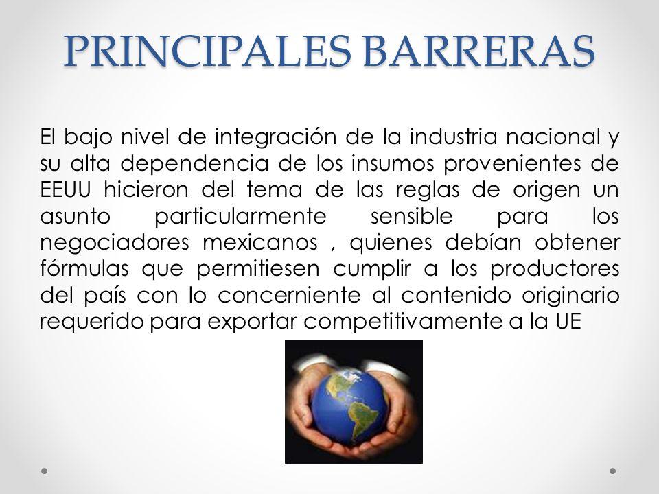 PRINCIPALES BARRERAS El bajo nivel de integración de la industria nacional y su alta dependencia de los insumos provenientes de EEUU hicieron del tema