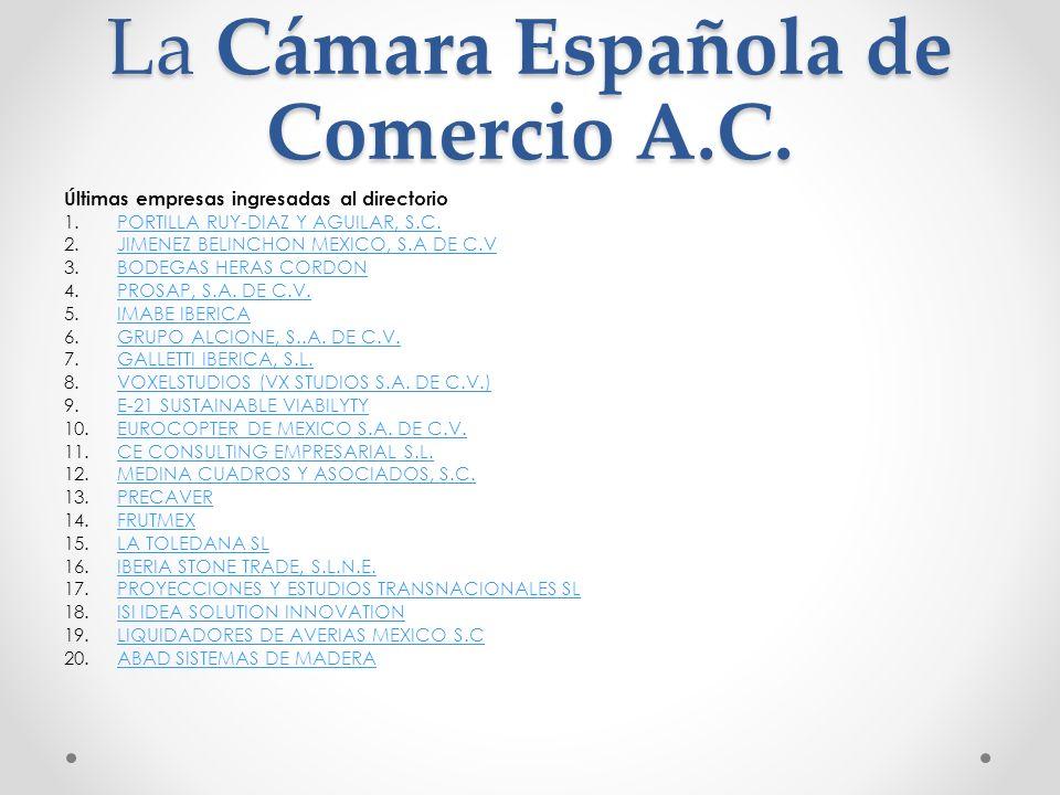 Últimas empresas ingresadas al directorio 1.PORTILLA RUY-DIAZ Y AGUILAR, S.C.PORTILLA RUY-DIAZ Y AGUILAR, S.C. 2.JIMENEZ BELINCHON MEXICO, S.A DE C.VJ