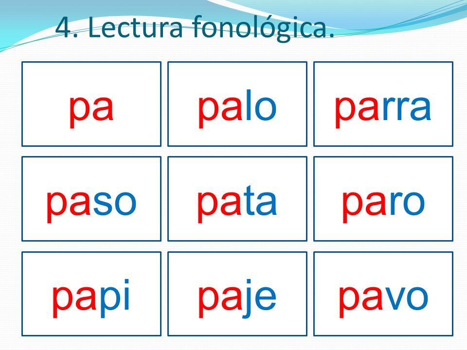 4. Lectura fonológica. papaloparra pasopataparo papipajepavo