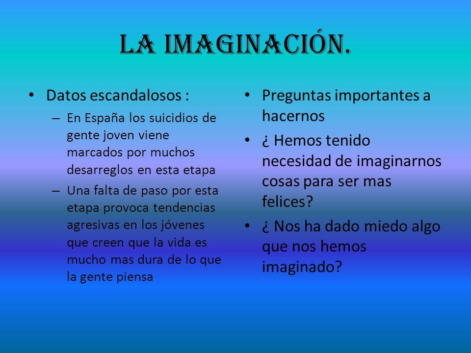 La imaginación. Datos escandalosos : – En España los suicidios de gente joven viene marcados por muchos desarreglos en esta etapa – Una falta de paso