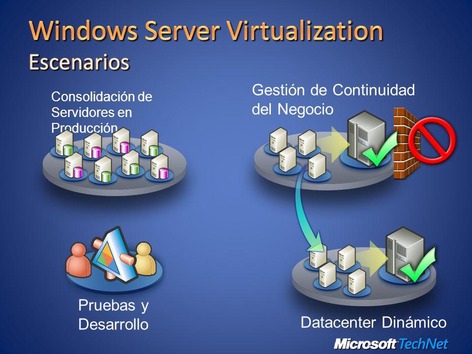 Pruebas y Desarrollo Gestión de Continuidad del Negocio Datacenter Dinámico Consolidación de Servidores en Producción