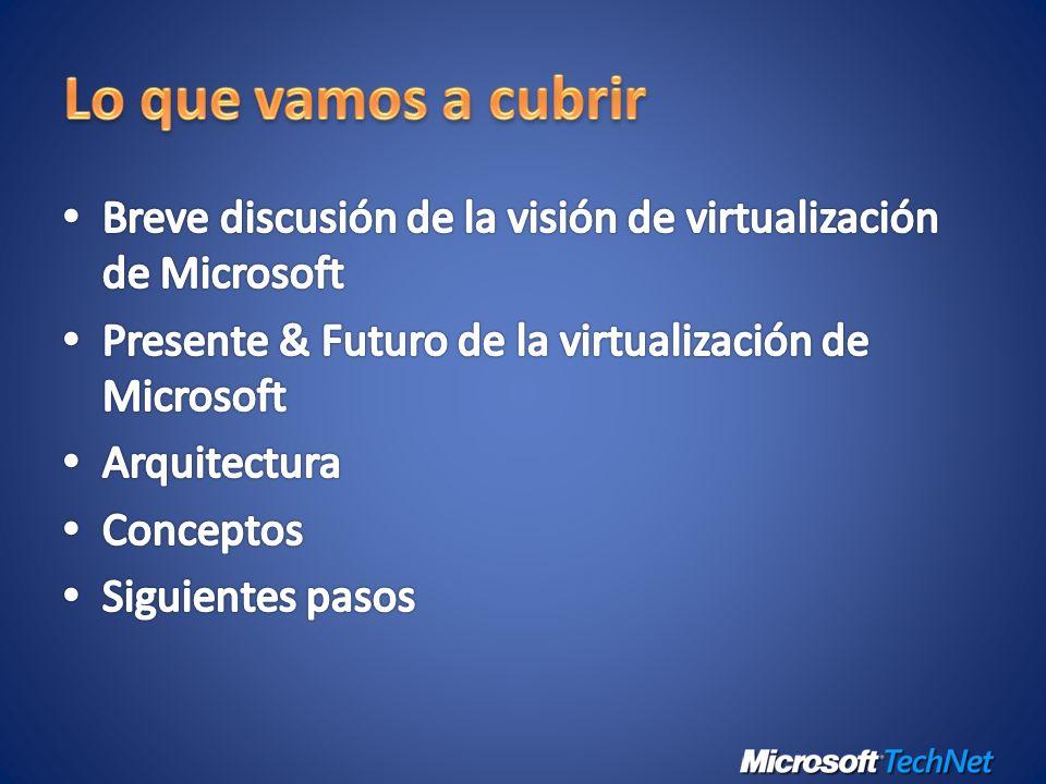 Virtualización de Servidor Virtualización de Aplicación de Aplicación Virtualización de Desktop Virtualización de Presentación Administració n Conjunto de productos de virtualización, desde el Data Center hasta el Desktop Activos – tanto virtuales como físicos – se administran desde una única plataforma