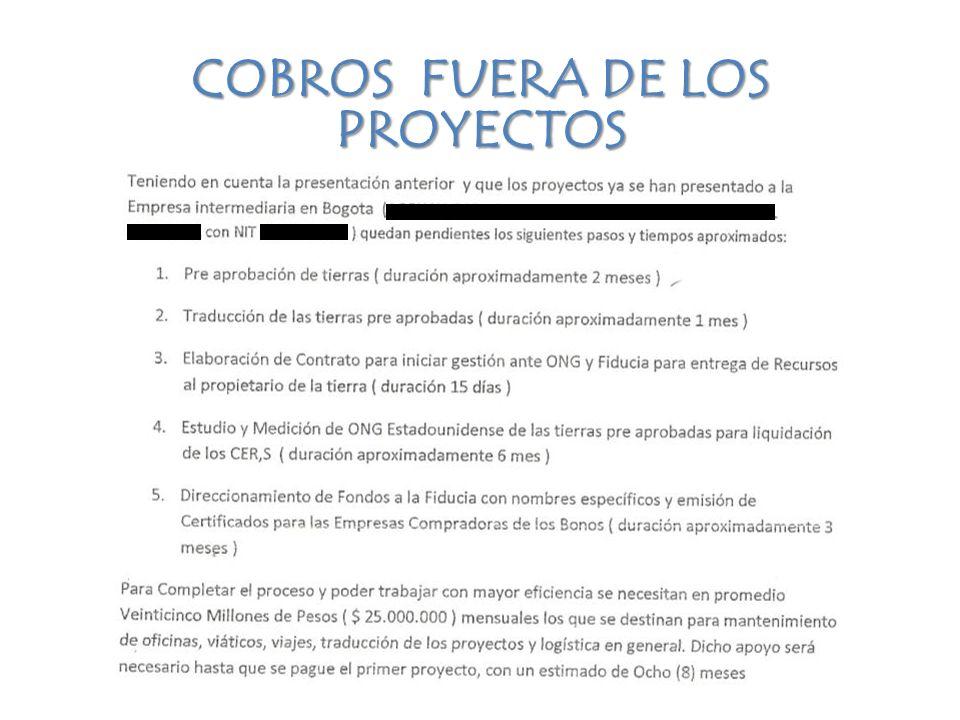 COBROS FUERA DE LOS PROYECTOS