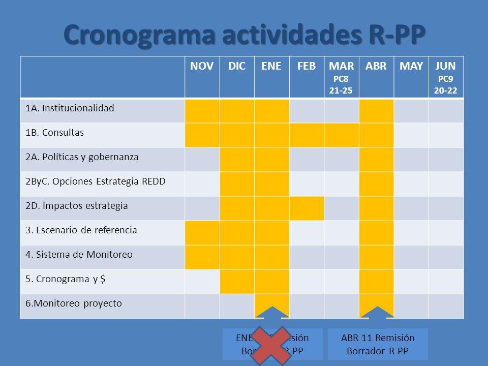 NOVDICENEFEBMAR PC8 21-25 ABRMAYJUN PC9 20-22 1A. Institucionalidad 1B.