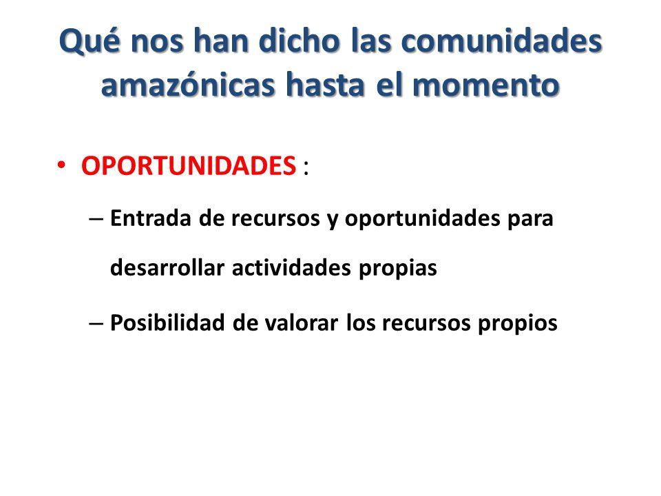 Qué nos han dicho las comunidades amazónicas hasta el momento OPORTUNIDADES : – Entrada de recursos y oportunidades para desarrollar actividades propias – Posibilidad de valorar los recursos propios