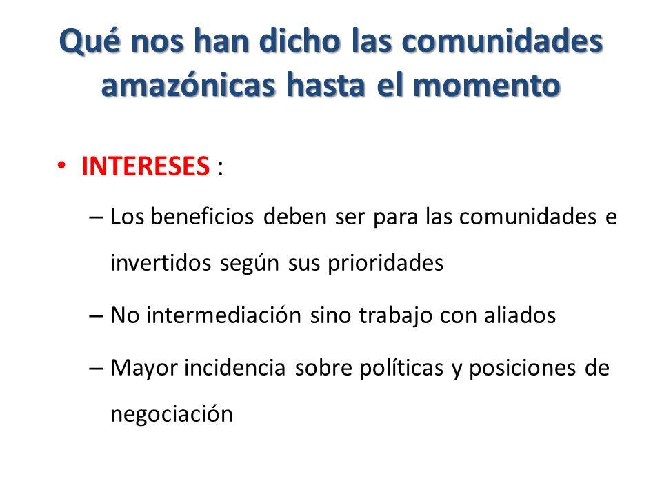 Qué nos han dicho las comunidades amazónicas hasta el momento INTERESES : – Los beneficios deben ser para las comunidades e invertidos según sus prioridades – No intermediación sino trabajo con aliados – Mayor incidencia sobre políticas y posiciones de negociación