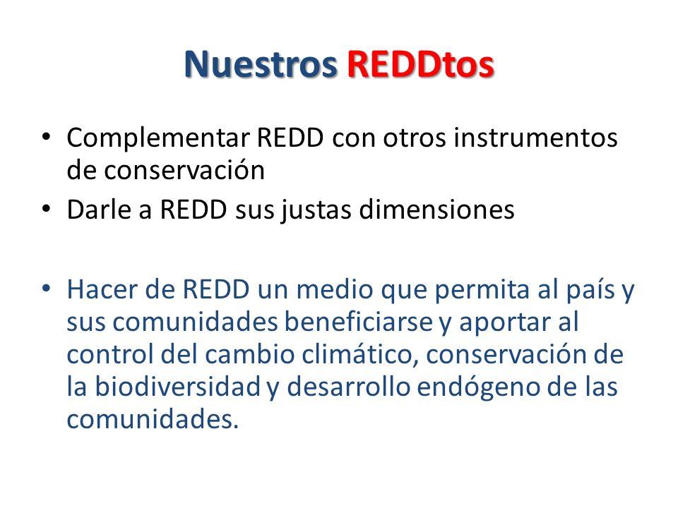 Nuestros REDDtos Complementar REDD con otros instrumentos de conservación Darle a REDD sus justas dimensiones Hacer de REDD un medio que permita al país y sus comunidades beneficiarse y aportar al control del cambio climático, conservación de la biodiversidad y desarrollo endógeno de las comunidades.