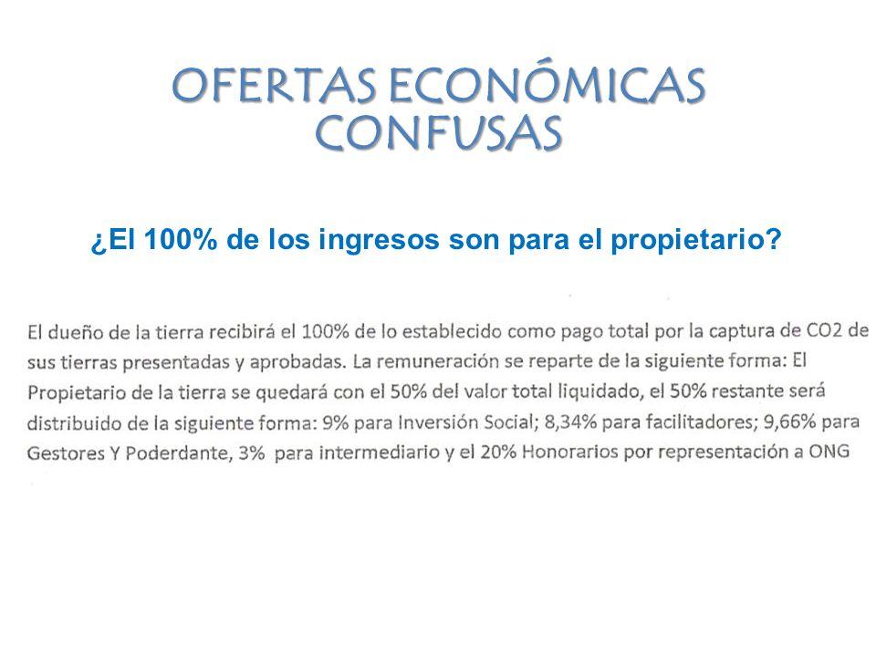 ¿El 100% de los ingresos son para el propietario OFERTAS ECONÓMICAS CONFUSAS