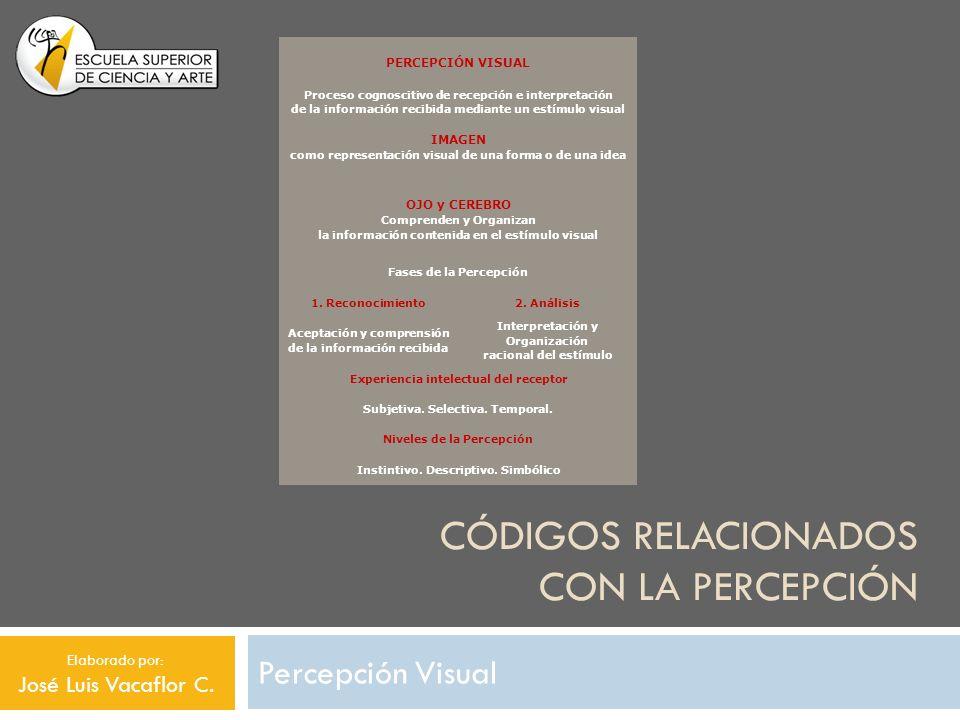 CÓDIGOS RELACIONADOS CON LA PERCEPCIÓN Percepción Visual PERCEPCIÓN VISUAL Proceso cognoscitivo de recepción e interpretación de la información recibi