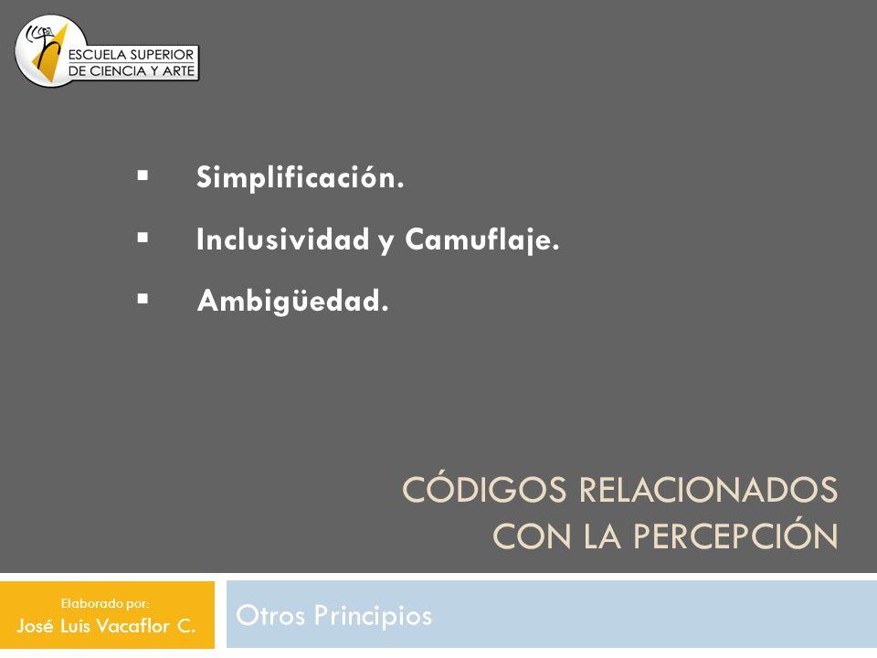 CÓDIGOS RELACIONADOS CON LA PERCEPCIÓN Otros Principios Simplificación. Inclusividad y Camuflaje. Ambigüedad. Elaborado por: José Luis Vacaflor C.