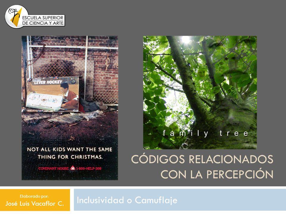 CÓDIGOS RELACIONADOS CON LA PERCEPCIÓN Inclusividad o Camuflaje Elaborado por: José Luis Vacaflor C.