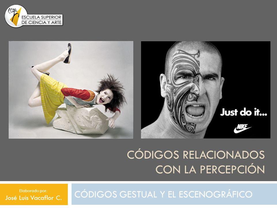 CÓDIGOS RELACIONADOS CON LA PERCEPCIÓN CÓDIGOS GESTUAL Y EL ESCENOGRÁFICO Elaborado por: José Luis Vacaflor C.