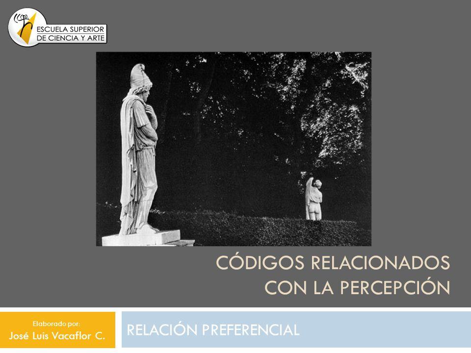 CÓDIGOS RELACIONADOS CON LA PERCEPCIÓN RELACIÓN PREFERENCIAL Elaborado por: José Luis Vacaflor C.