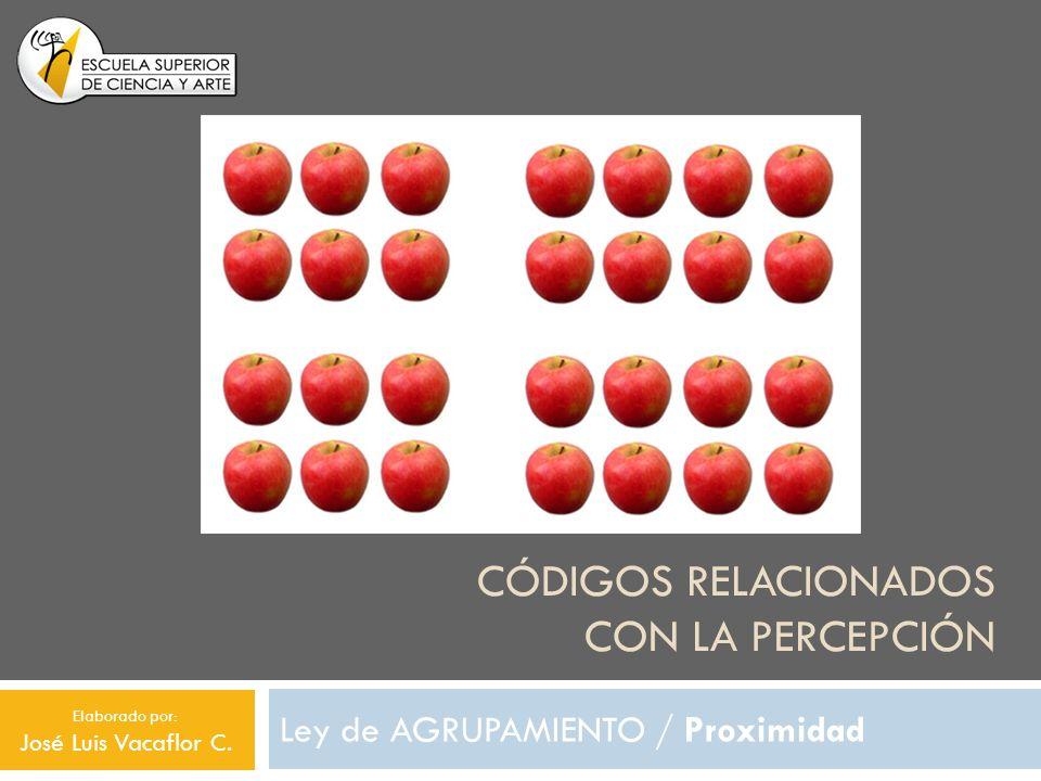 CÓDIGOS RELACIONADOS CON LA PERCEPCIÓN Ley de AGRUPAMIENTO / Proximidad Elaborado por: José Luis Vacaflor C.