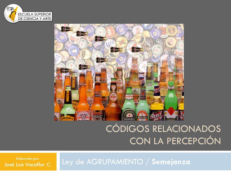 CÓDIGOS RELACIONADOS CON LA PERCEPCIÓN Ley de AGRUPAMIENTO / Semejanza Elaborado por: José Luis Vacaflor C.