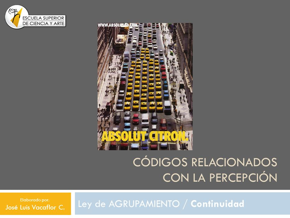 CÓDIGOS RELACIONADOS CON LA PERCEPCIÓN Ley de AGRUPAMIENTO / Continuidad Elaborado por: José Luis Vacaflor C.