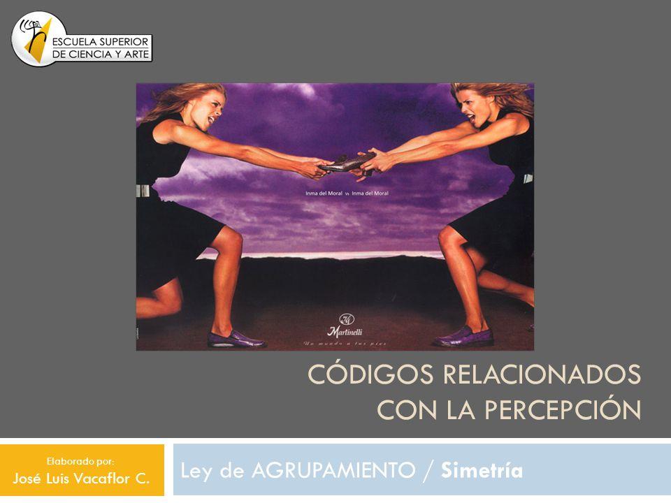 CÓDIGOS RELACIONADOS CON LA PERCEPCIÓN Ley de AGRUPAMIENTO / Simetría Elaborado por: José Luis Vacaflor C.