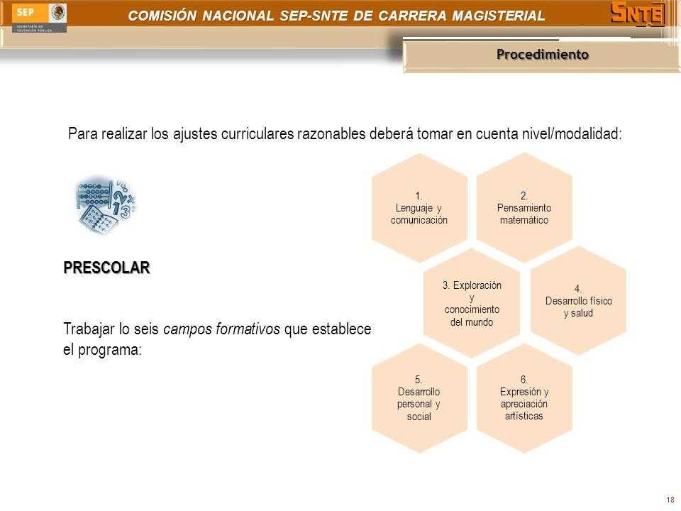 COMISIÓN NACIONAL SEP-SNTE DE CARRERA MAGISTERIAL Procedimiento 18 Para realizar los ajustes curriculares razonables deberá tomar en cuenta nivel/modalidad: PRESCOLAR Trabajar lo seis campos formativos que establece el programa: 2.