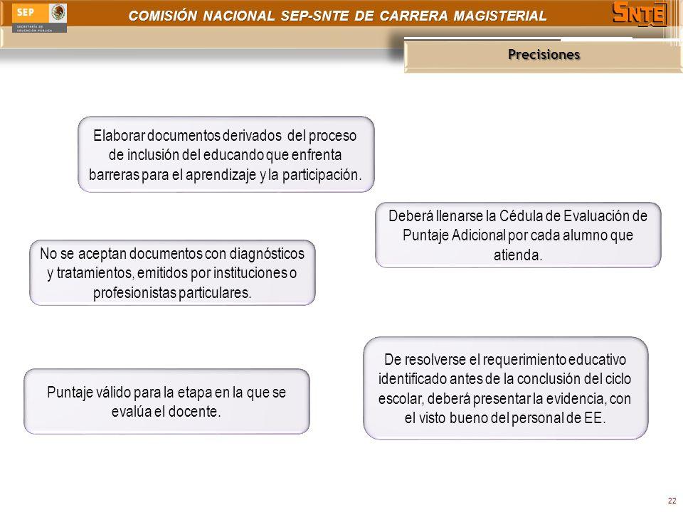 COMISIÓN NACIONAL SEP-SNTE DE CARRERA MAGISTERIAL Precisiones 22 Elaborar documentos derivados del proceso de inclusión del educando que enfrenta barreras para el aprendizaje y la participación.