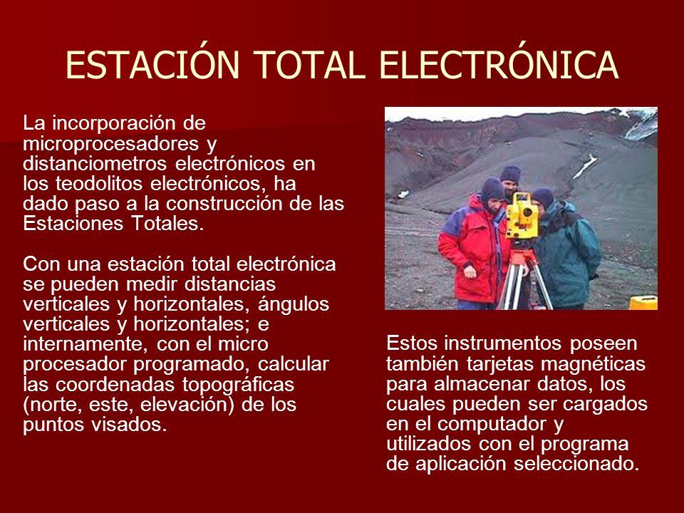 ESTACIÓN TOTAL ELECTRÓNICA La incorporación de microprocesadores y distanciometros electrónicos en los teodolitos electrónicos, ha dado paso a la cons